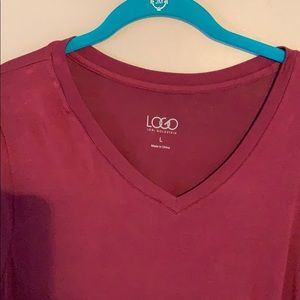 LOGO by Lori Goldstein Tops - Logo knit top with panels and side gofers